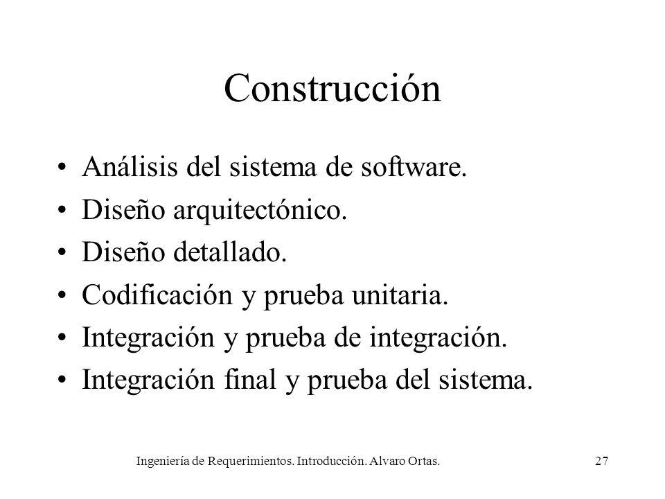 Ingeniería de Requerimientos. Introducción. Alvaro Ortas.27 Construcción Análisis del sistema de software. Diseño arquitectónico. Diseño detallado. Co