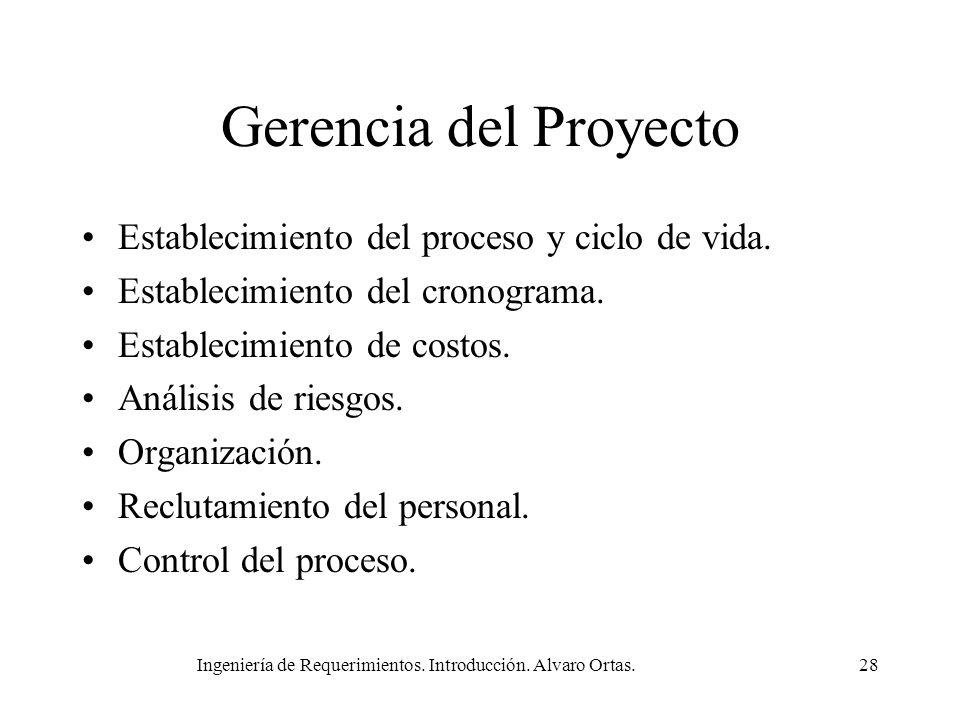 Ingeniería de Requerimientos. Introducción. Alvaro Ortas.28 Gerencia del Proyecto Establecimiento del proceso y ciclo de vida. Establecimiento del cro