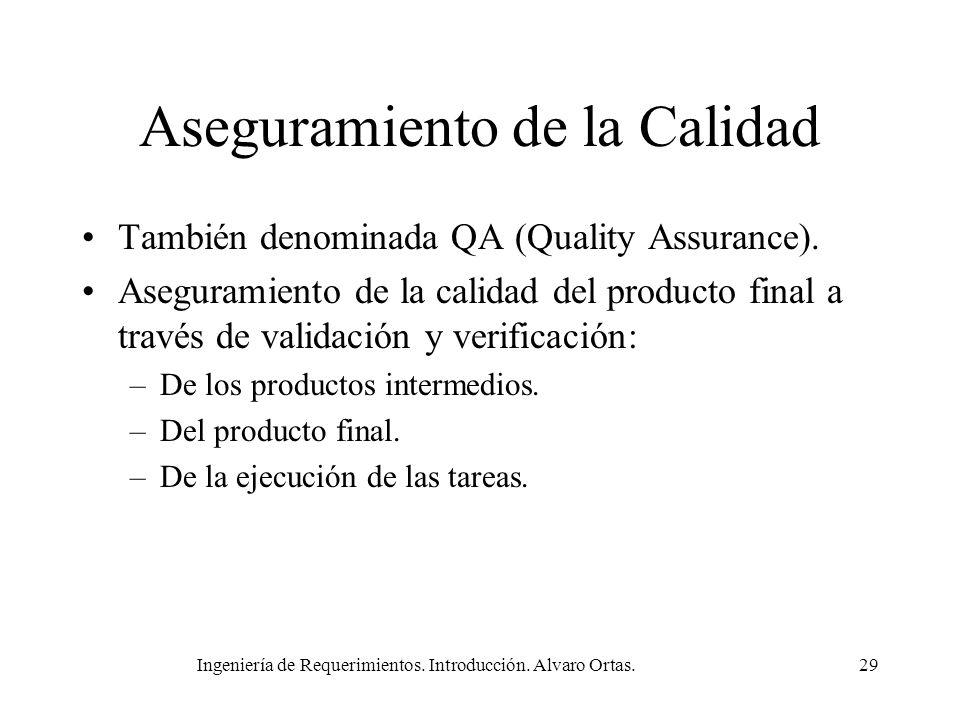 Ingeniería de Requerimientos. Introducción. Alvaro Ortas.29 Aseguramiento de la Calidad También denominada QA (Quality Assurance). Aseguramiento de la