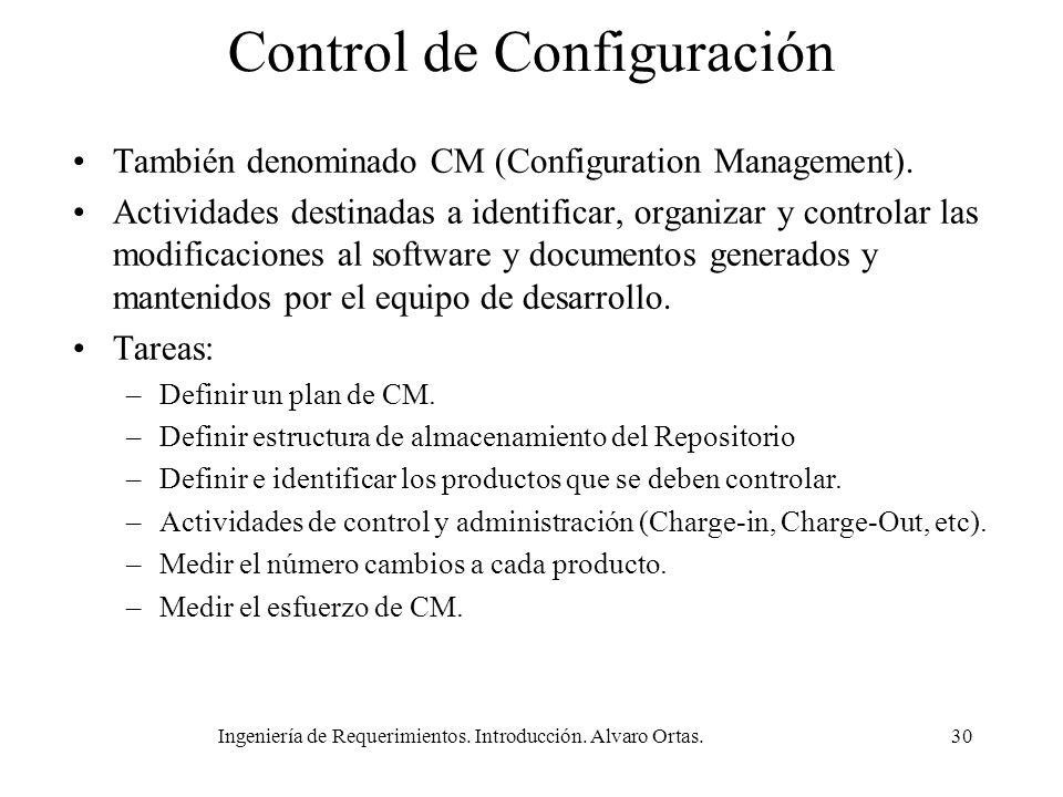 Ingeniería de Requerimientos. Introducción. Alvaro Ortas.30 Control de Configuración También denominado CM (Configuration Management). Actividades des
