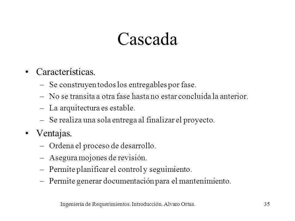 Ingeniería de Requerimientos. Introducción. Alvaro Ortas.35 Cascada Características. –Se construyen todos los entregables por fase. –No se transita a