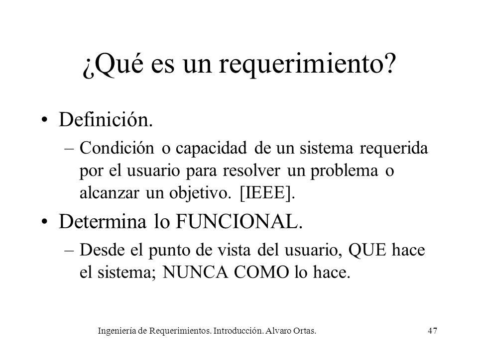 Ingeniería de Requerimientos. Introducción. Alvaro Ortas.47 ¿Qué es un requerimiento? Definición. –Condición o capacidad de un sistema requerida por e