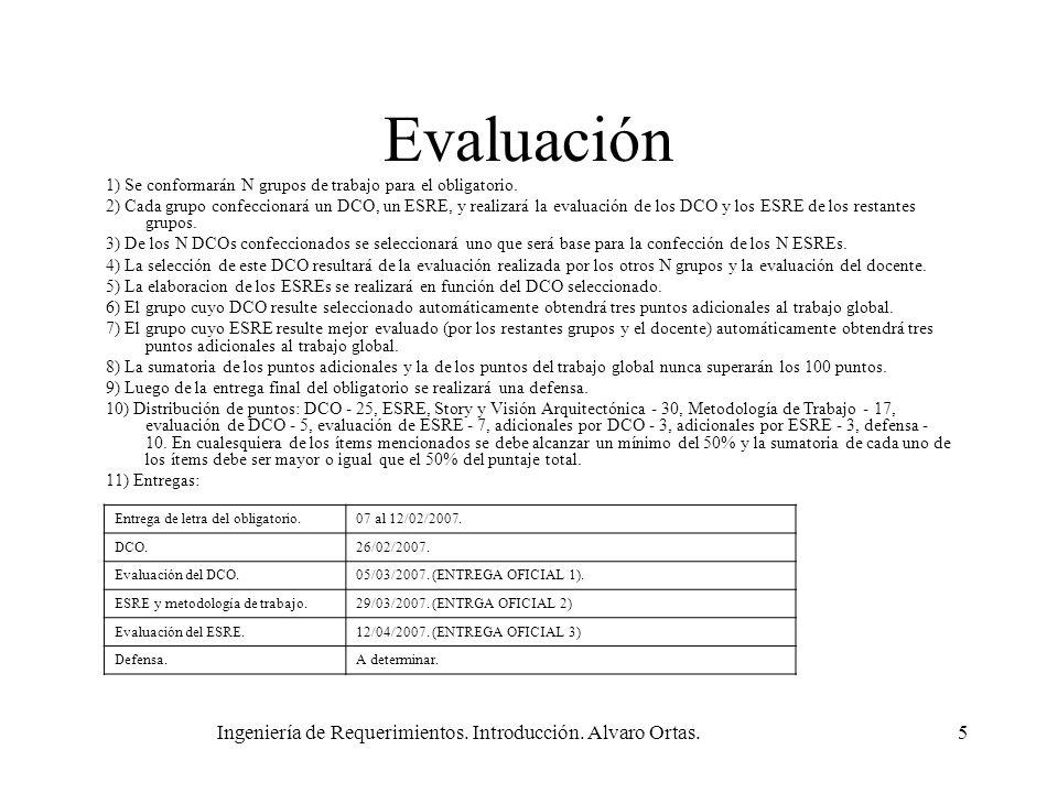 Ingeniería de Requerimientos. Introducción. Alvaro Ortas.5 Evaluación 1) Se conformarán N grupos de trabajo para el obligatorio. 2) Cada grupo confecc