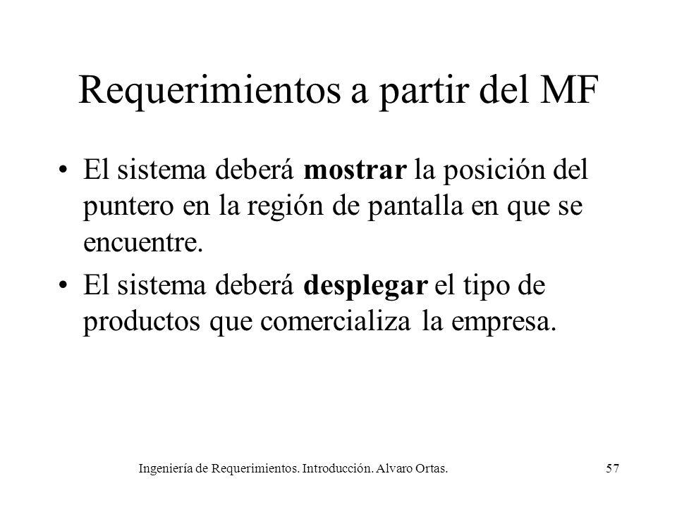 Ingeniería de Requerimientos. Introducción. Alvaro Ortas.57 Requerimientos a partir del MF El sistema deberá mostrar la posición del puntero en la reg