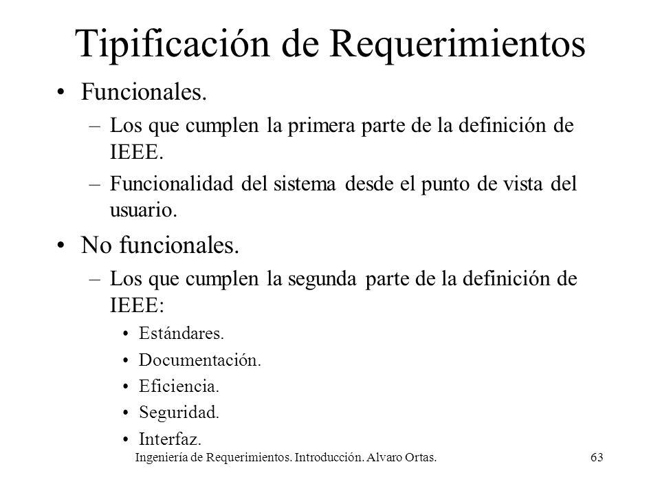 Ingeniería de Requerimientos. Introducción. Alvaro Ortas.63 Tipificación de Requerimientos Funcionales. –Los que cumplen la primera parte de la defini