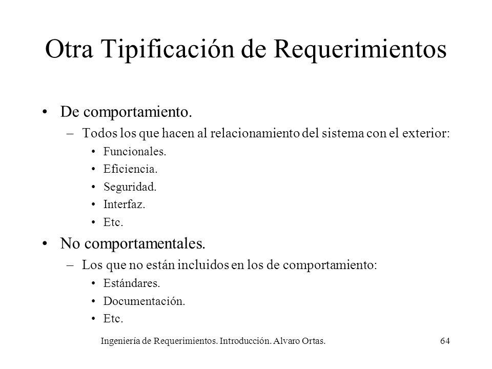 Ingeniería de Requerimientos. Introducción. Alvaro Ortas.64 Otra Tipificación de Requerimientos De comportamiento. –Todos los que hacen al relacionami