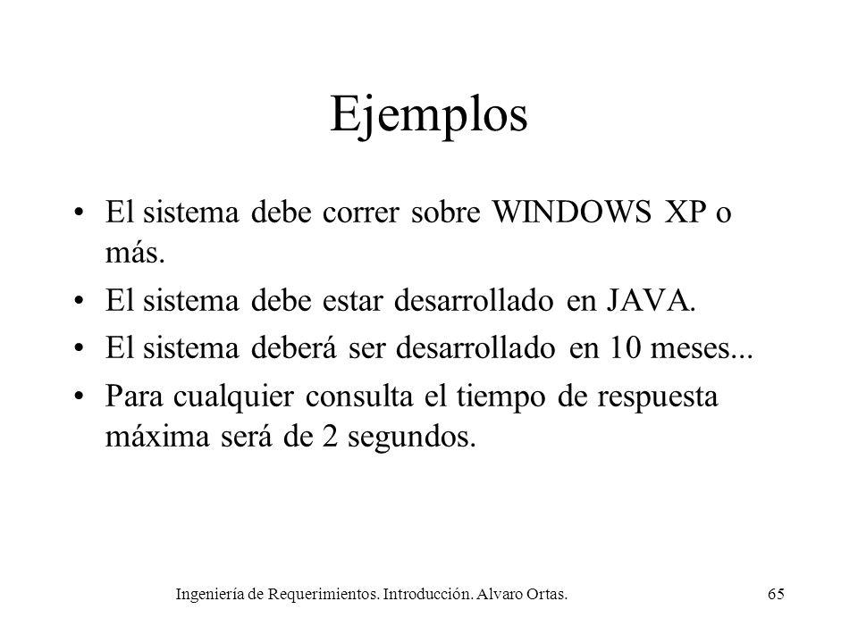 Ingeniería de Requerimientos. Introducción. Alvaro Ortas.65 Ejemplos El sistema debe correr sobre WINDOWS XP o más. El sistema debe estar desarrollado