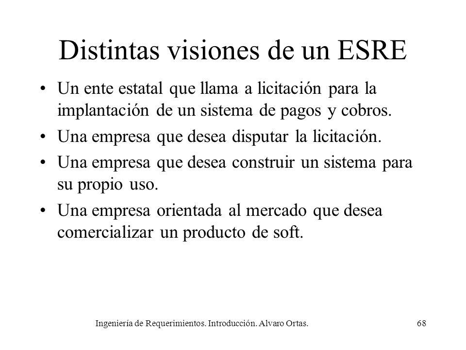 Ingeniería de Requerimientos. Introducción. Alvaro Ortas.68 Distintas visiones de un ESRE Un ente estatal que llama a licitación para la implantación
