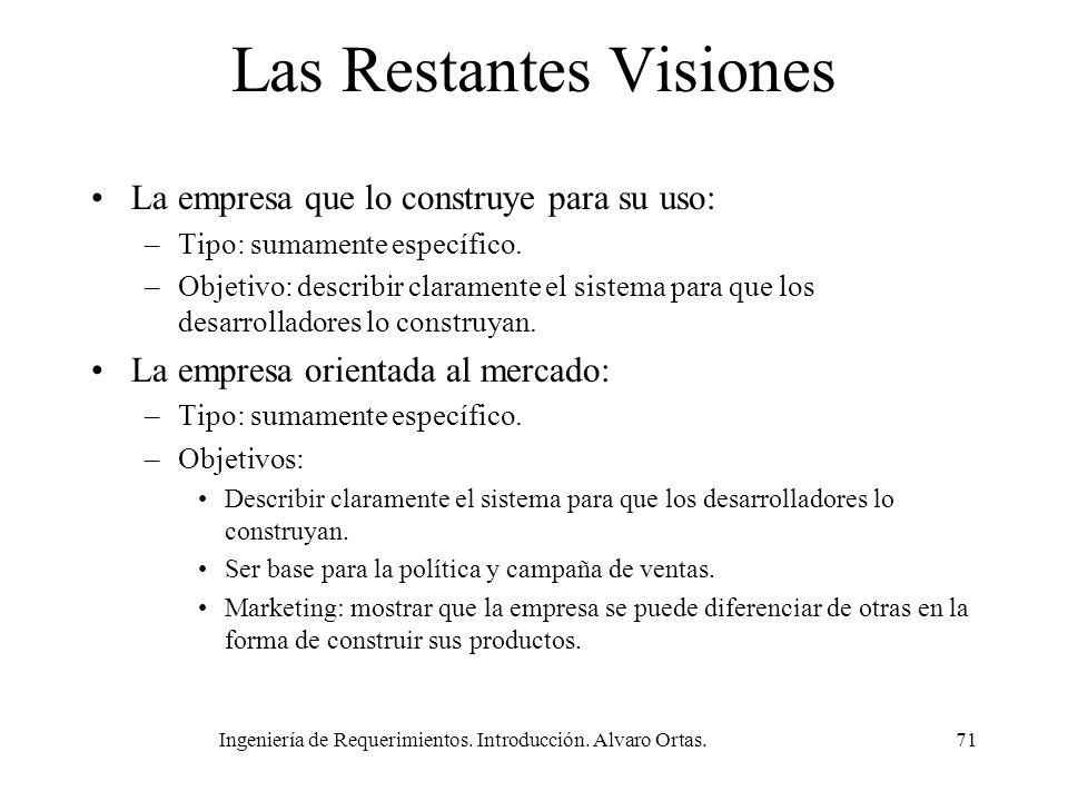 Ingeniería de Requerimientos. Introducción. Alvaro Ortas.71 Las Restantes Visiones La empresa que lo construye para su uso: –Tipo: sumamente específic