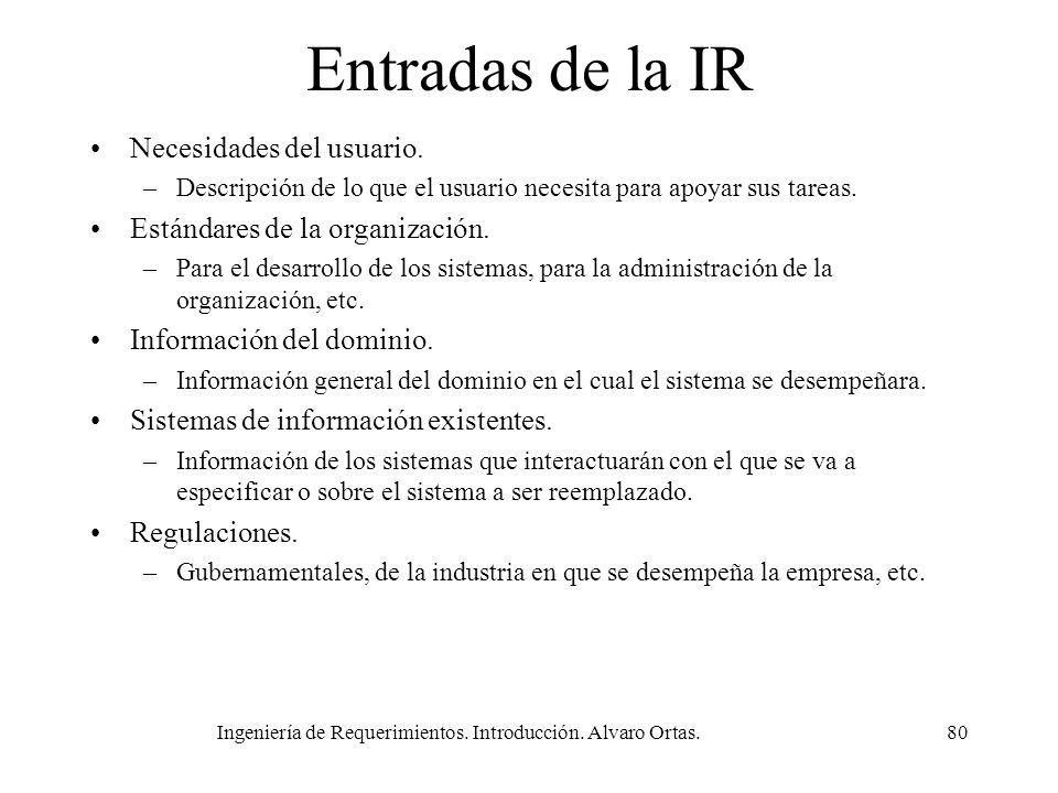Ingeniería de Requerimientos. Introducción. Alvaro Ortas.80 Entradas de la IR Necesidades del usuario. –Descripción de lo que el usuario necesita para