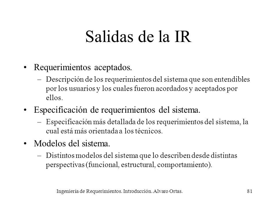 Ingeniería de Requerimientos. Introducción. Alvaro Ortas.81 Salidas de la IR Requerimientos aceptados. –Descripción de los requerimientos del sistema
