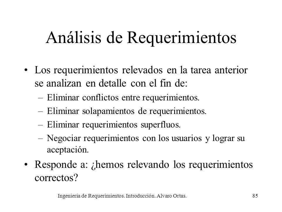 Ingeniería de Requerimientos. Introducción. Alvaro Ortas.85 Análisis de Requerimientos Los requerimientos relevados en la tarea anterior se analizan e