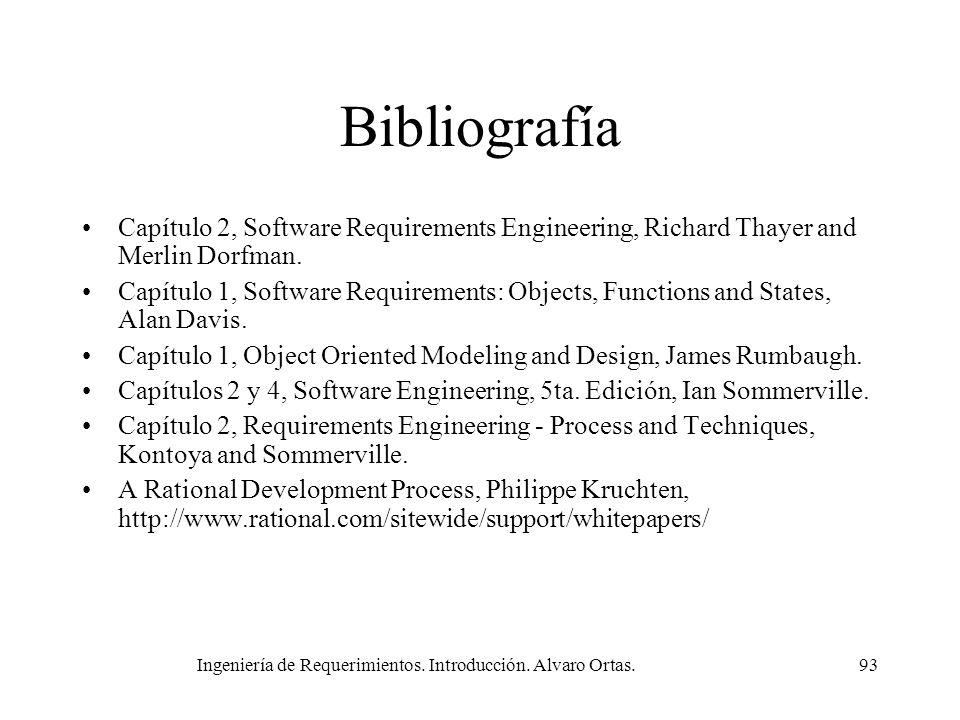 Ingeniería de Requerimientos. Introducción. Alvaro Ortas.93 Bibliografía Capítulo 2, Software Requirements Engineering, Richard Thayer and Merlin Dorf