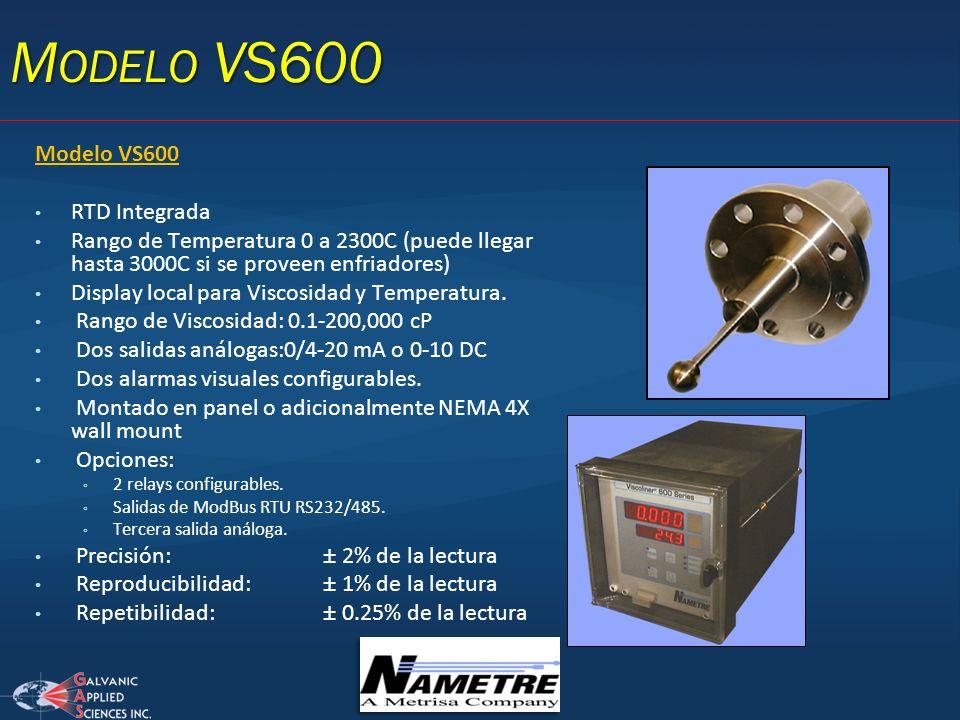 Modelo VS600 RTD Integrada Rango de Temperatura 0 a 2300C (puede llegar hasta 3000C si se proveen enfriadores) Display local para Viscosidad y Tempera