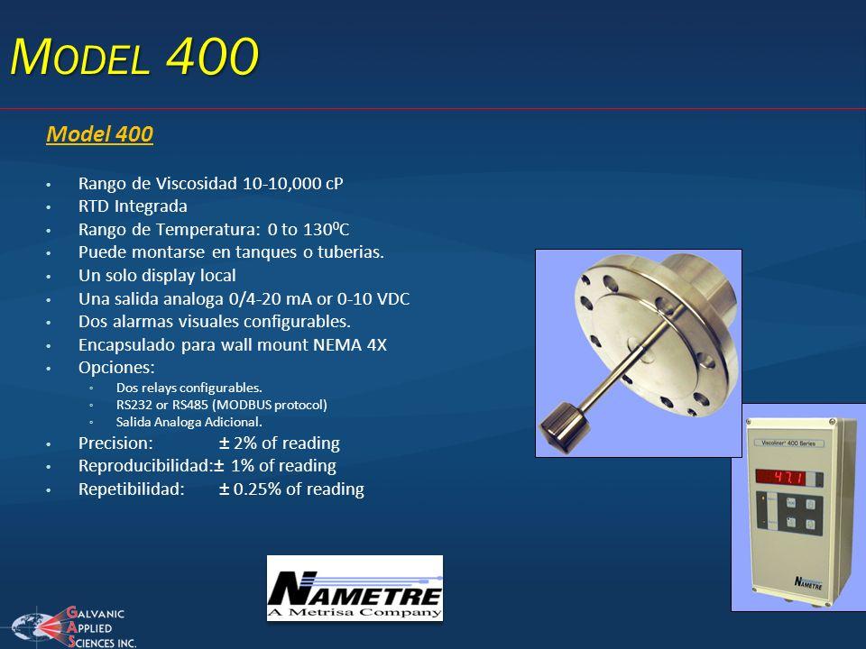 Model 400 Rango de Viscosidad 10-10,000 cP RTD Integrada Rango de Temperatura: 0 to 130 0 C Puede montarse en tanques o tuberias. Un solo display loca