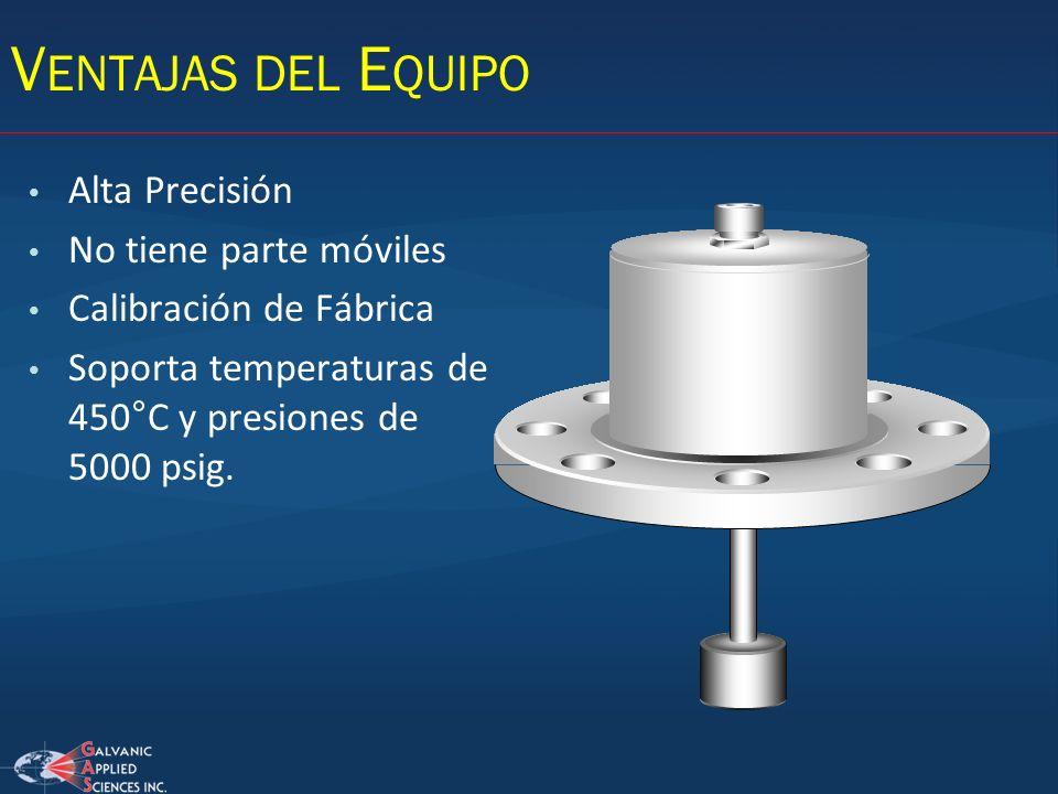 Alta Precisión No tiene parte móviles Calibración de Fábrica Soporta temperaturas de 450°C y presiones de 5000 psig. V ENTAJAS DEL E QUIPO