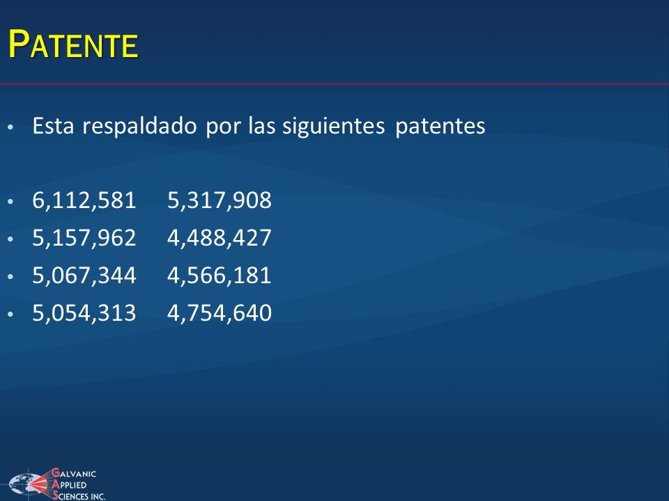 P ATENTE Esta respaldado por las siguientes patentes 6,112,581 5,317,908 5,157,962 4,488,427 5,067,344 4,566,181 5,054,313 4,754,640
