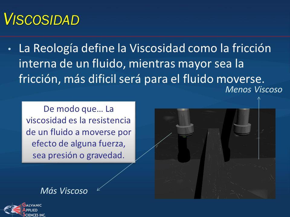V ISCOSIDAD La Reología define la Viscosidad como la fricción interna de un fluido, mientras mayor sea la fricción, más dificil será para el fluido mo