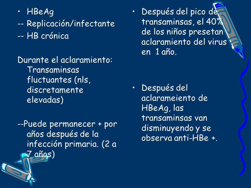 HBeAg -- Replicación/infectante -- HB crónica Durante el aclaramiento: Transaminsas fluctuantes (nls, discretamente elevadas) --Puede permanecer + por