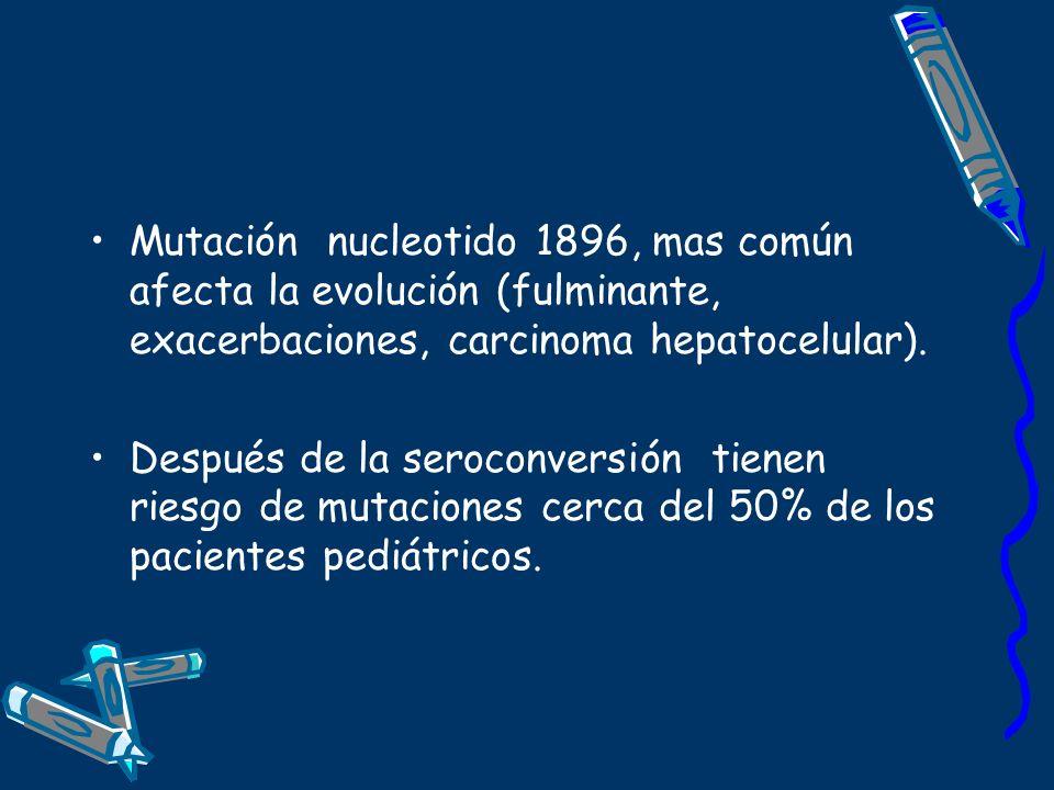 Mutación nucleotido 1896, mas común afecta la evolución (fulminante, exacerbaciones, carcinoma hepatocelular). Después de la seroconversión tienen rie