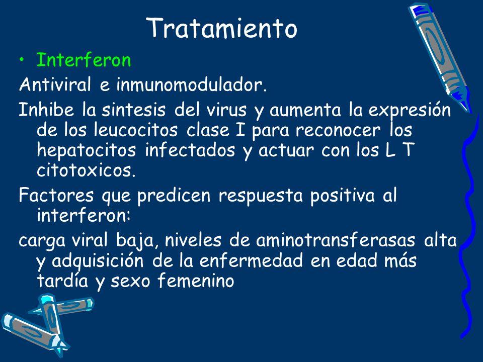 Tratamiento Interferon Antiviral e inmunomodulador. Inhibe la sintesis del virus y aumenta la expresión de los leucocitos clase I para reconocer los h