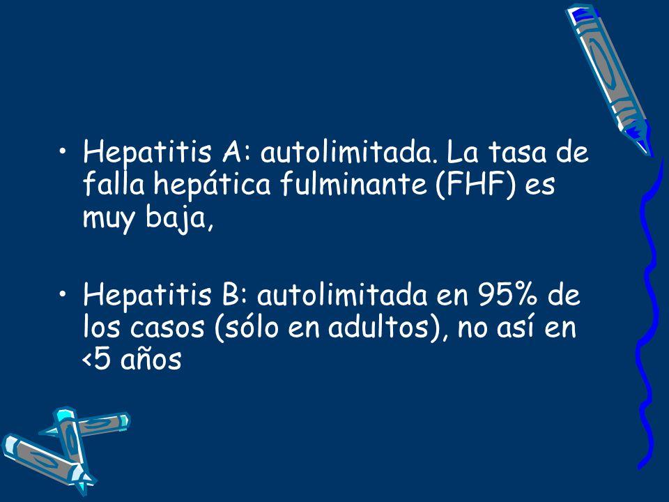 Hepatitis A: autolimitada. La tasa de falla hepática fulminante (FHF) es muy baja, Hepatitis B: autolimitada en 95% de los casos (sólo en adultos), no
