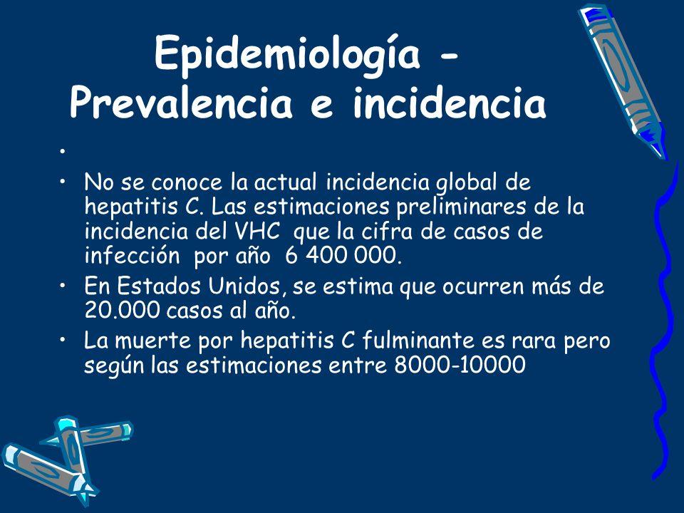 Epidemiología - Prevalencia e incidencia No se conoce la actual incidencia global de hepatitis C. Las estimaciones preliminares de la incidencia del V