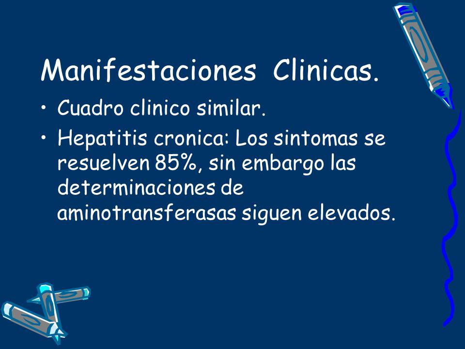 Manifestaciones Clinicas. Cuadro clinico similar. Hepatitis cronica: Los sintomas se resuelven 85%, sin embargo las determinaciones de aminotransferas