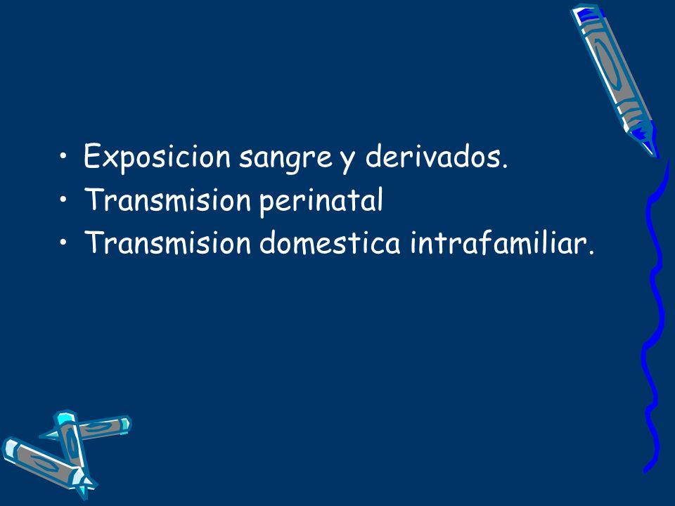 Exposicion sangre y derivados. Transmision perinatal Transmision domestica intrafamiliar.
