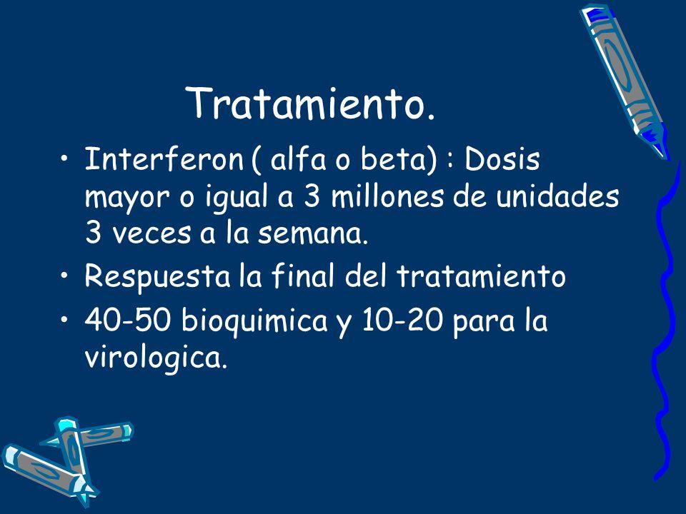 Tratamiento. Interferon ( alfa o beta) : Dosis mayor o igual a 3 millones de unidades 3 veces a la semana. Respuesta la final del tratamiento 40-50 bi