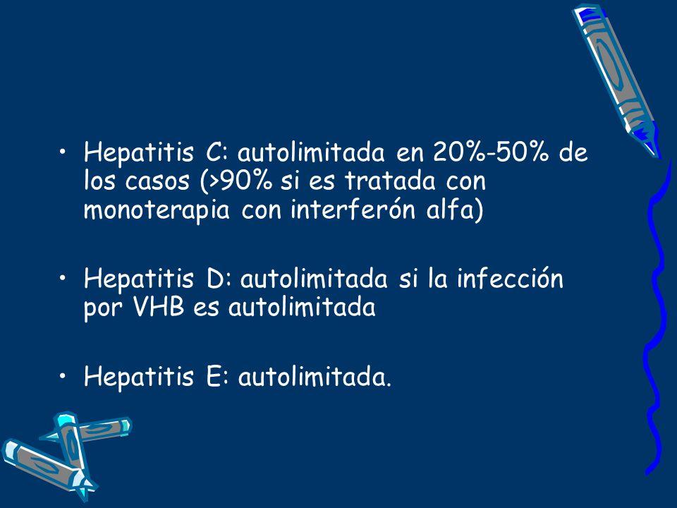 Hepatitis C: autolimitada en 20%-50% de los casos (>90% si es tratada con monoterapia con interferón alfa) Hepatitis D: autolimitada si la infección p