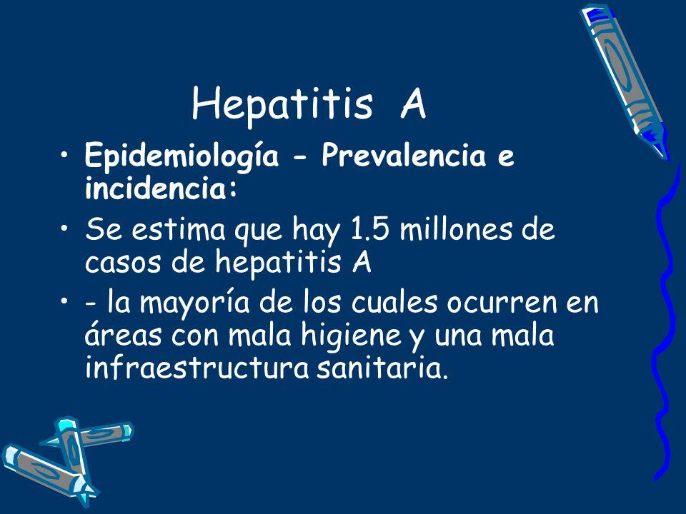 Hepatitis A Epidemiología - Prevalencia e incidencia: Se estima que hay 1.5 millones de casos de hepatitis A - la mayoría de los cuales ocurren en áre