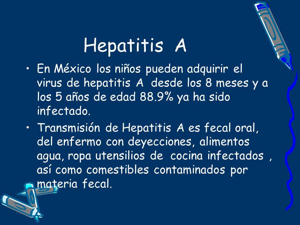Hepatitis A En México los niños pueden adquirir el virus de hepatitis A desde los 8 meses y a los 5 años de edad 88.9% ya ha sido infectado. Transmisi