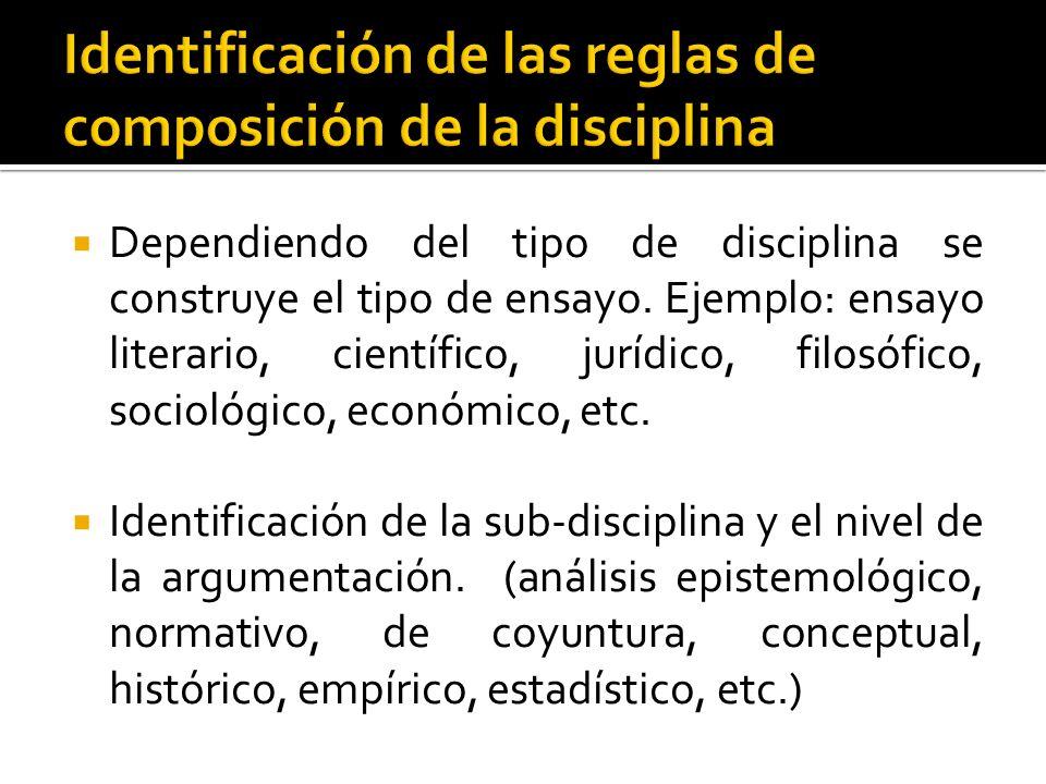 Dependiendo del tipo de disciplina se construye el tipo de ensayo. Ejemplo: ensayo literario, científico, jurídico, filosófico, sociológico, económico