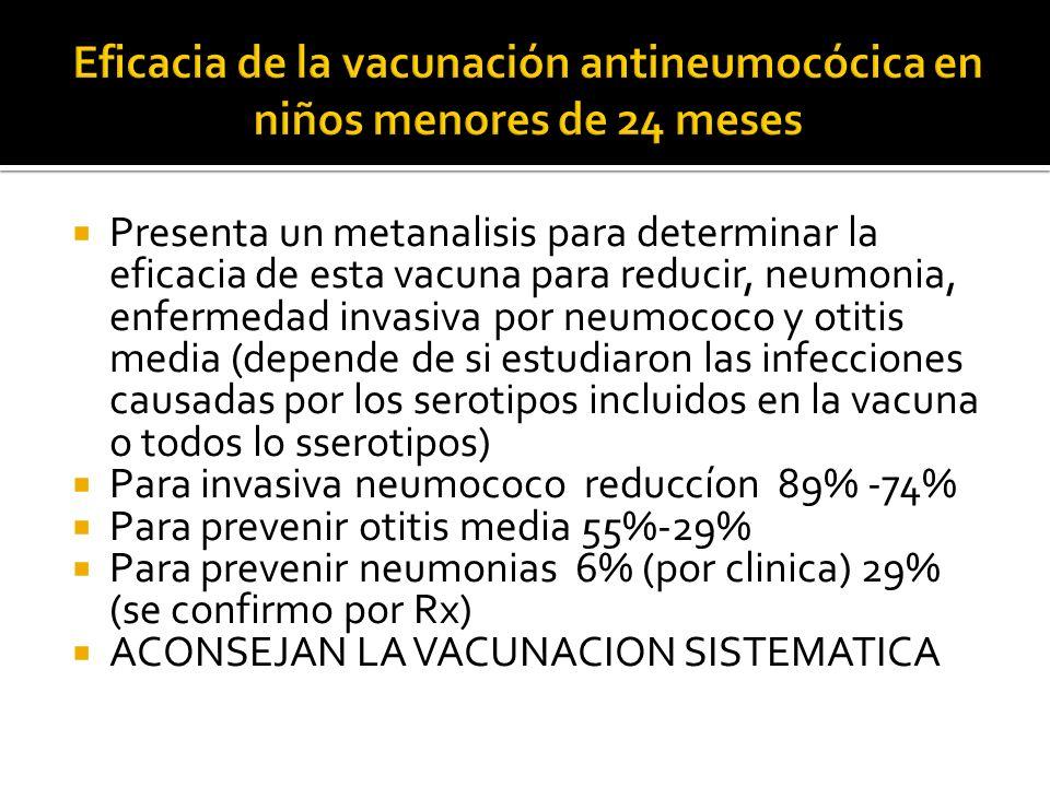 Presenta un metanalisis para determinar la eficacia de esta vacuna para reducir, neumonia, enfermedad invasiva por neumococo y otitis media (depende d