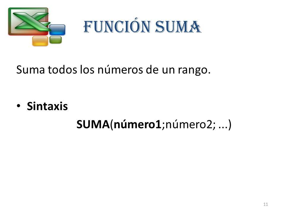 FUNCIÓN SUMA Suma todos los números de un rango. Sintaxis SUMA(número1;número2;...) 11