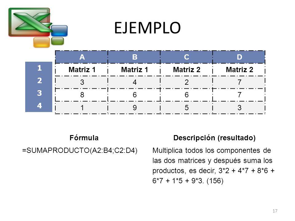 EJEMPLO ABCD Matriz 1 Matriz 2 3427 8667 1953 FórmulaDescripción (resultado) =SUMAPRODUCTO(A2:B4;C2:D4)Multiplica todos los componentes de las dos mat