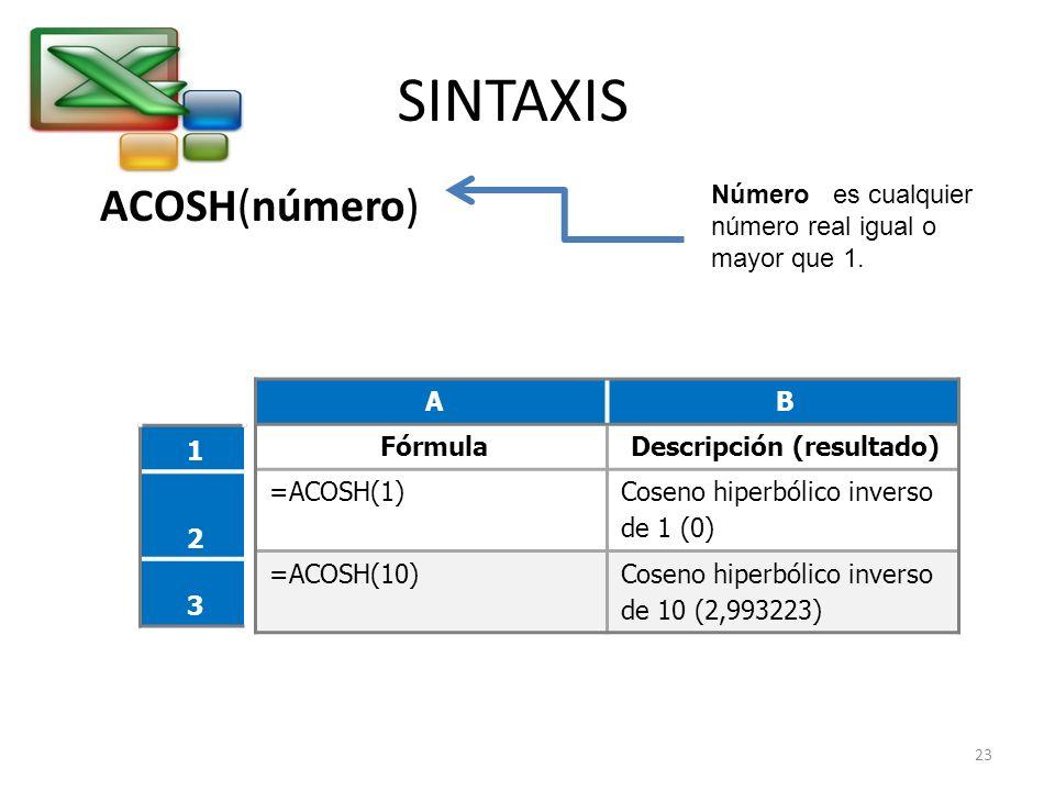SINTAXIS ACOSH(número) Número es cualquier número real igual o mayor que 1. AB FórmulaDescripción (resultado) =ACOSH(1) Coseno hiperbólico inverso de