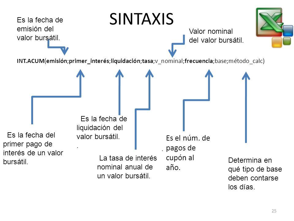 SINTAXIS INT.ACUM(emisión;primer_interés;liquidación;tasa;v_nominal;frecuencia;base;método_calc) Es la fecha del primer pago de interés de un valor bu
