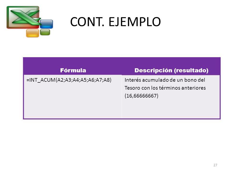 CONT. EJEMPLO FórmulaDescripción (resultado) =INT_ACUM(A2;A3;A4;A5;A6;A7;A8)Interés acumulado de un bono del Tesoro con los términos anteriores (16,66