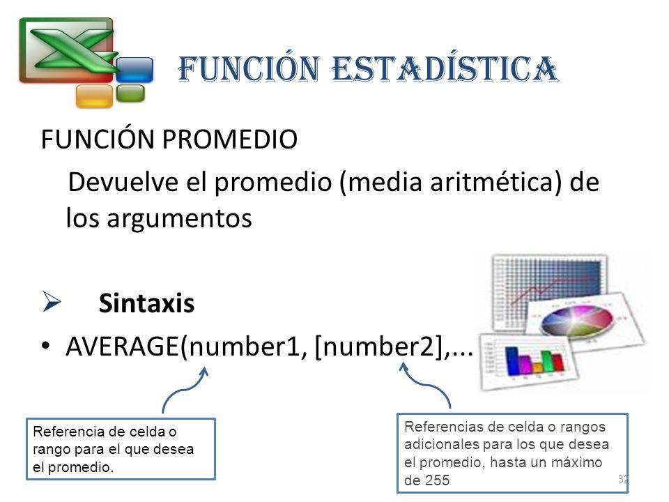 FUNCIÓN PROMEDIO Devuelve el promedio (media aritmética) de los argumentos Sintaxis AVERAGE(number1, [number2],...) FUNCIÓN estadística Referencia de