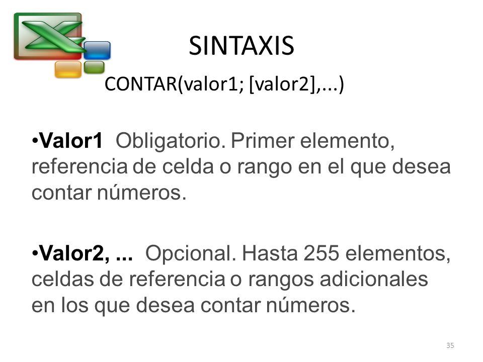 SINTAXIS CONTAR(valor1; [valor2],...) Valor1 Obligatorio. Primer elemento, referencia de celda o rango en el que desea contar números. Valor2,... Opci