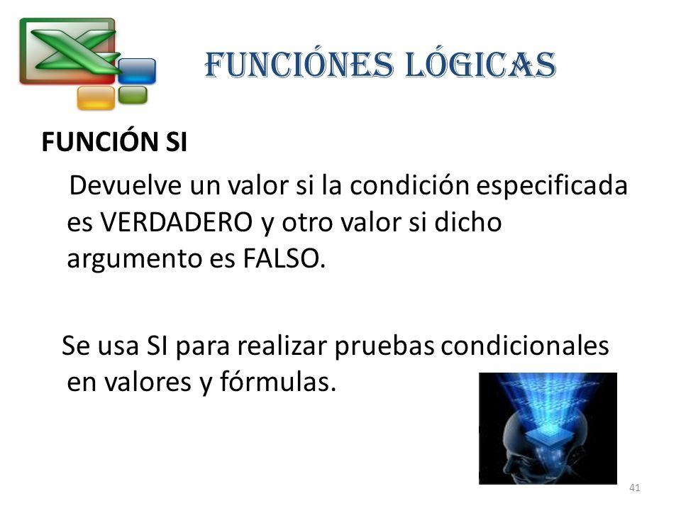 FUNCIÓN SI Devuelve un valor si la condición especificada es VERDADERO y otro valor si dicho argumento es FALSO. Se usa SI para realizar pruebas condi