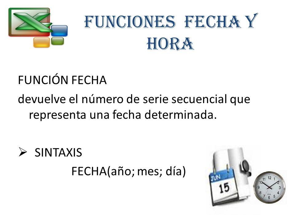 FUNCIONES FECHA Y HORA FUNCIÓN FECHA devuelve el número de serie secuencial que representa una fecha determinada. SINTAXIS FECHA(año; mes; día)