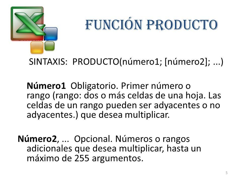 FUNCIÓN PRODUCTO Sintaxis SINTAXIS: PRODUCTO(número1; [número2];...) Número1 Obligatorio. Primer número o rango (rango: dos o más celdas de una hoja.