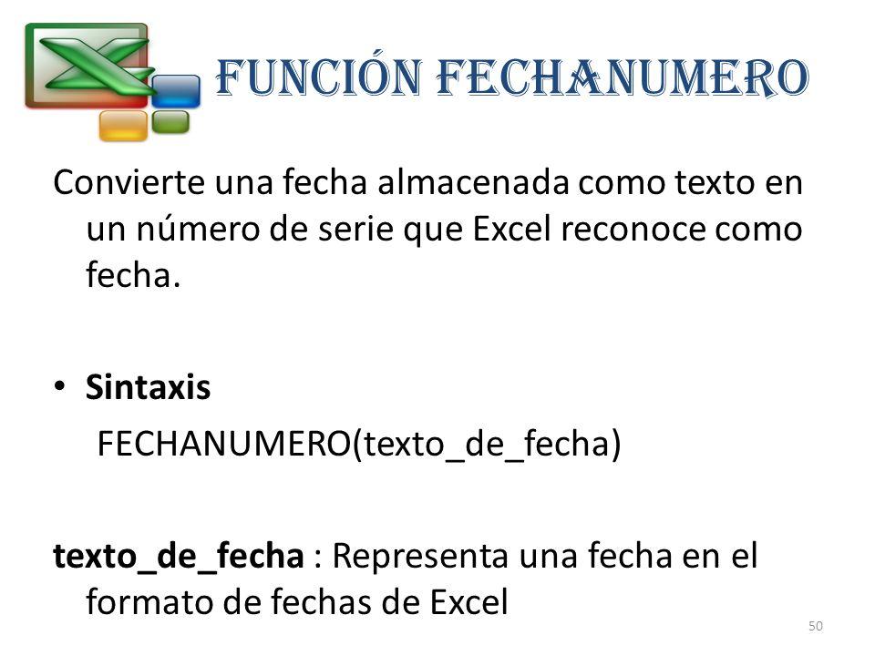 FUNCIÓN FECHANUMERO Convierte una fecha almacenada como texto en un número de serie que Excel reconoce como fecha. Sintaxis FECHANUMERO(texto_de_fecha