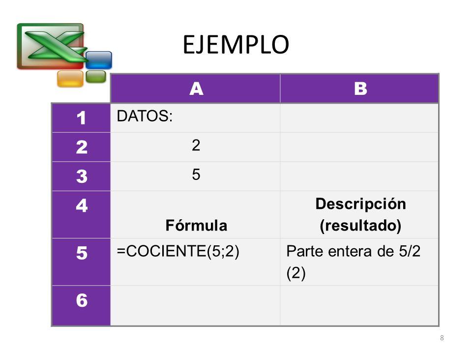 EJEMPLO AB 1 DATOS: 2 2 3 5 4 Fórmula Descripción (resultado) 5 =COCIENTE(5;2) Parte entera de 5/2 (2) 6 8