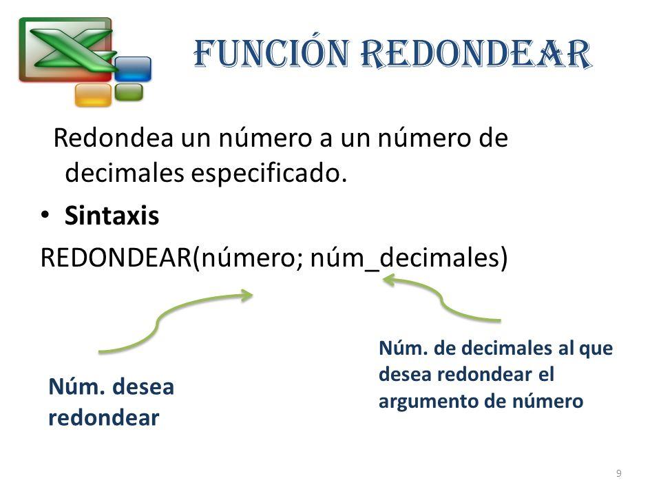 FUNCIÓN REDONDEAR Redondea un número a un número de decimales especificado. Sintaxis REDONDEAR(número; núm_decimales) Núm. desea redondear Núm. de dec
