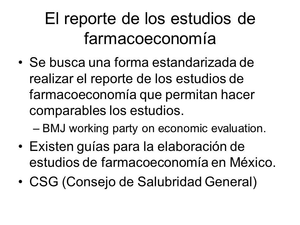 El reporte de los estudios de farmacoeconomía Se busca una forma estandarizada de realizar el reporte de los estudios de farmacoeconomía que permitan