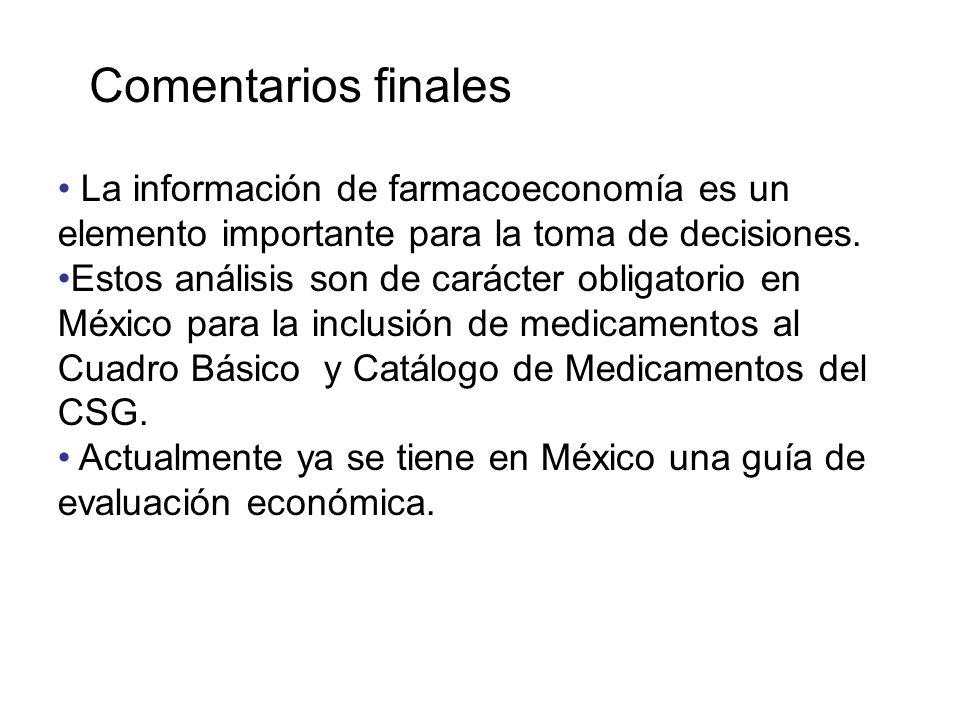 La información de farmacoeconomía es un elemento importante para la toma de decisiones. Estos análisis son de carácter obligatorio en México para la i
